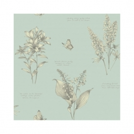 Linnaeus Floral Wallpaper Duck Egg (664401)