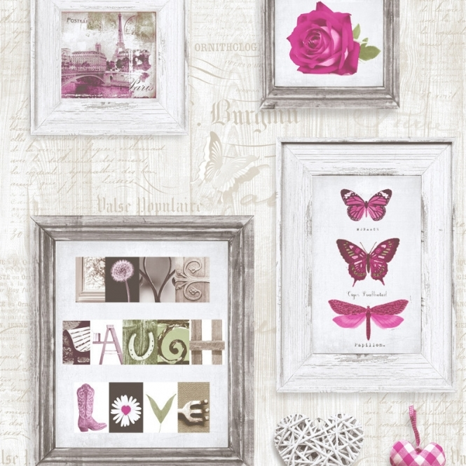 Muriva Live Laugh Love Frames Wallpaper Pink Cream 131501