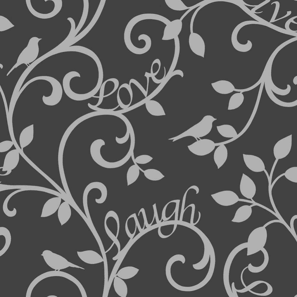 Live Love Laugh Scroll Wallpaper Black Silver Fd40287