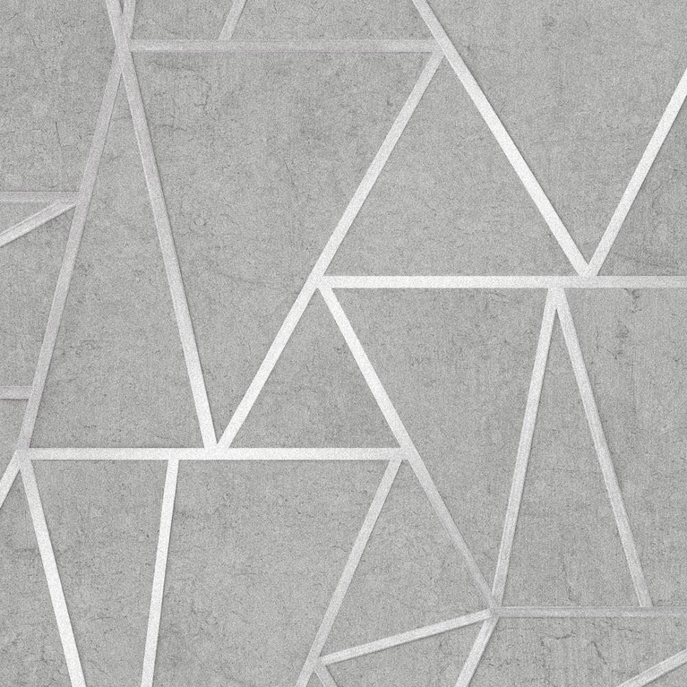 Metro Geometric Apex Wallpaper Grey Silver