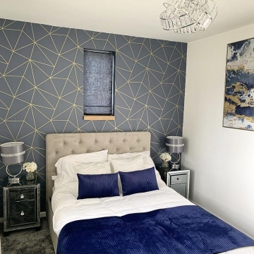 I Love Wallpaper Zara Shimmer Metallic Wallpaper Navy, Gold @cherryoakmanor