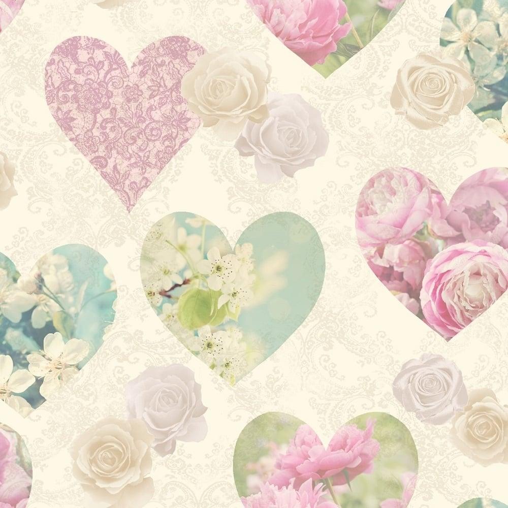 Fine Decor Novelty Heart Wallpaper Multicoloured (FD41912) - Wallpaper from I Love Wallpaper UK