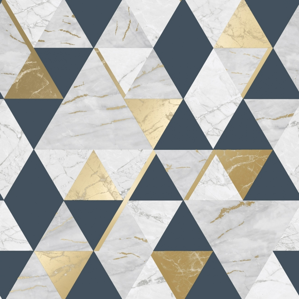 House Of Alice Onyx Marble Metallic Wallpaper Navy Blue Gold