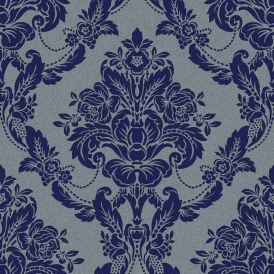 Palais Spot Damask Wallpaper Navy (900502)