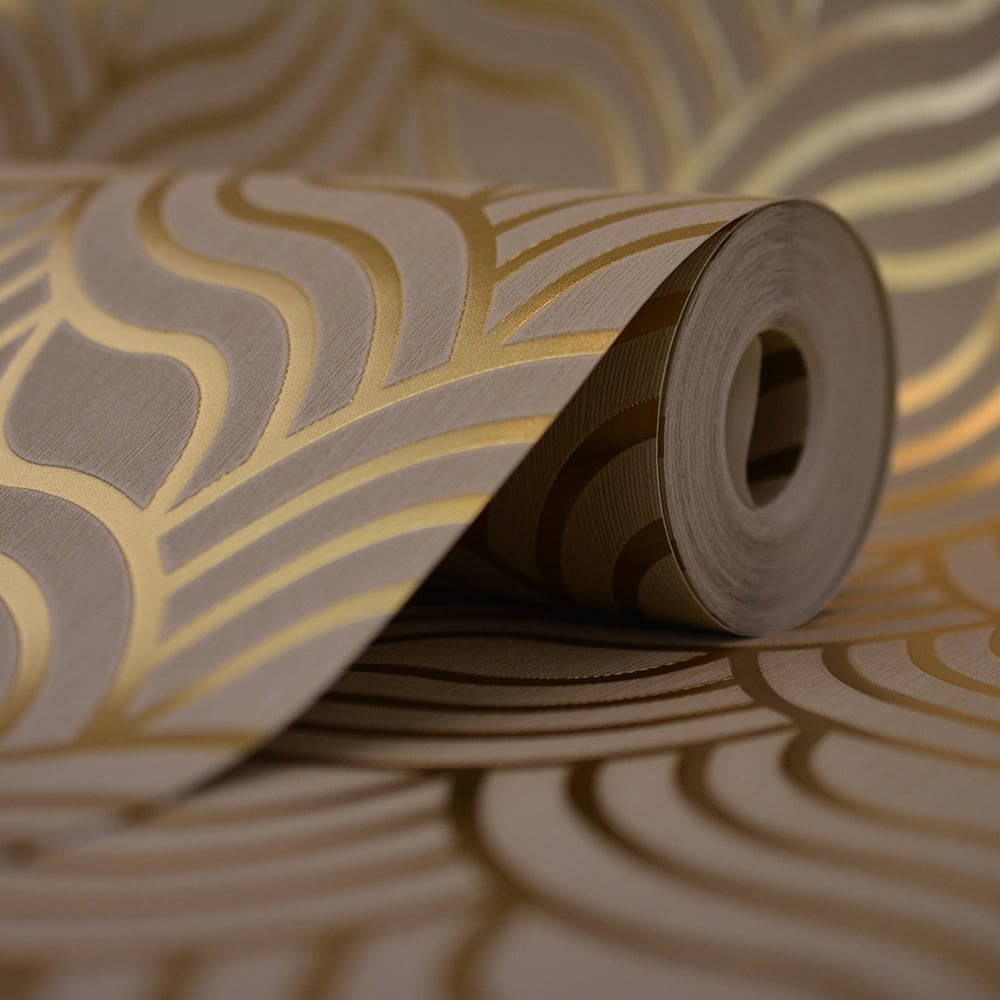Muriva precious silks art deco wallpaper beige gold 601534 wallpaper from i love wallpaper uk - Deco romantische kamer beige ...