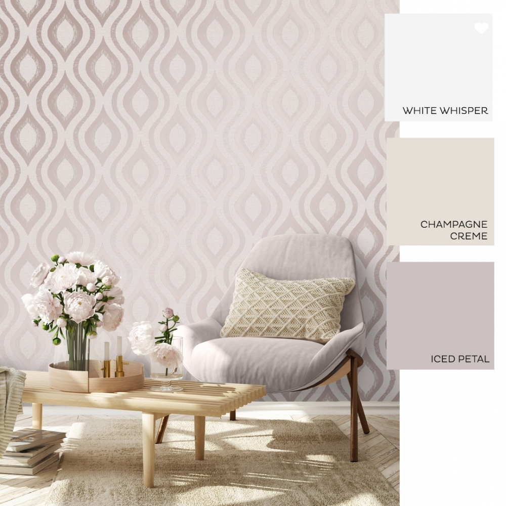 FD42206 Fine Decor Quartz Rose Gold Geometric Glitter Textured Wallpaper