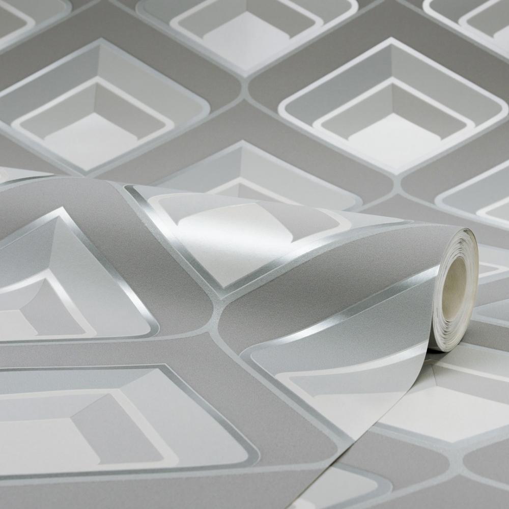 I Love Wallpaper Retro Geometric 3D Effect Wallpaper Grey