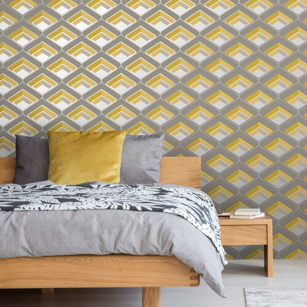 Magnificent Retro Geometric 3D Effect Wallpaper Yellow Interior Design Ideas Gentotryabchikinfo