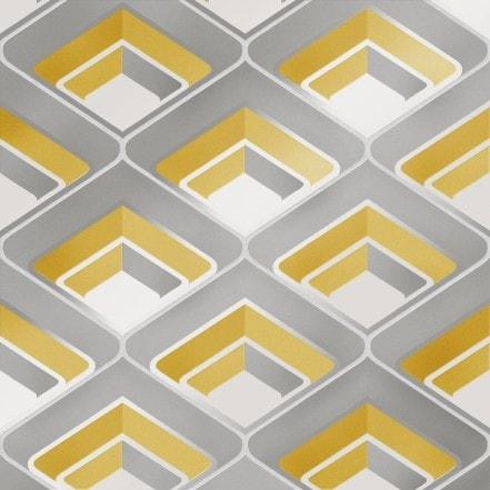 Retro Geometric 3D Effect Wallpaper Mustard Grey