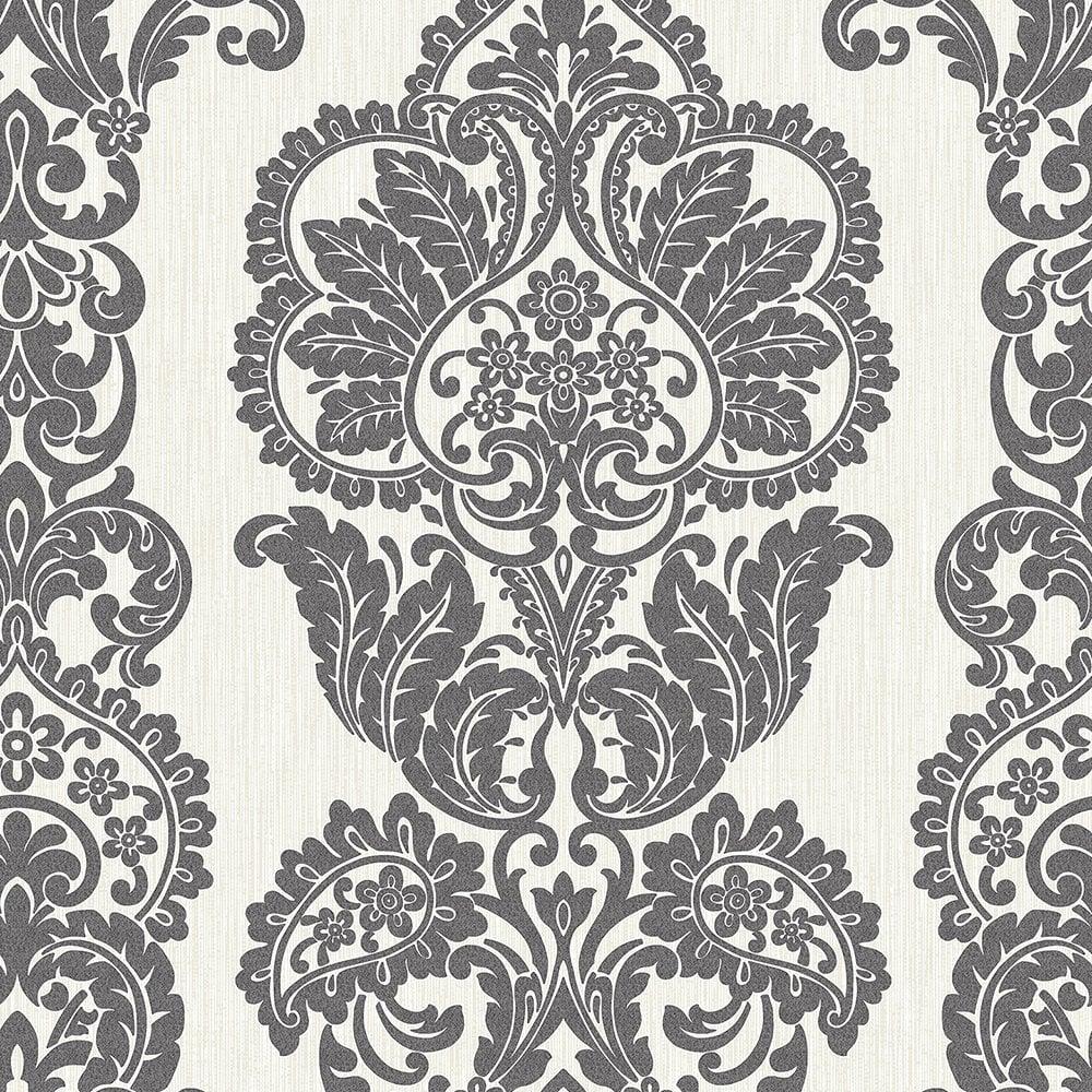 Fine decor rochester damask textured glitter wallpaper for Black white damask wallpaper mural