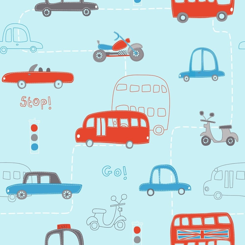 Rush Hour Hoopla Wallpaper Blue Red DL30706