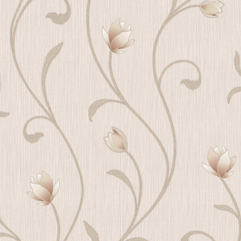 Serafina Floral Wallpaper Soft Gold 701323