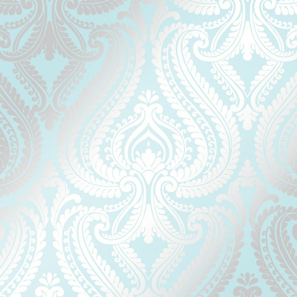 I Love Wallpaper Shimmer Damask Metallic Wallpaper Teal