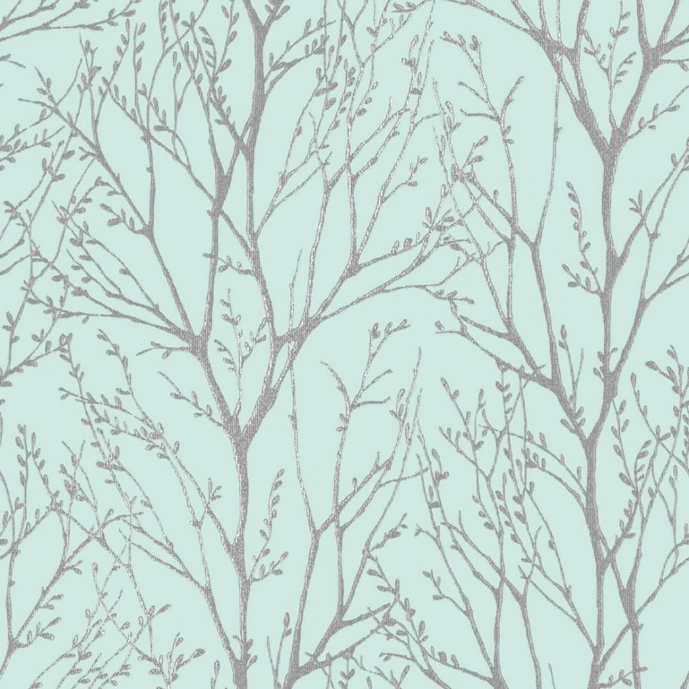 Shimmer Tree Wallpaper In Teal Silver I Love Wallpaper