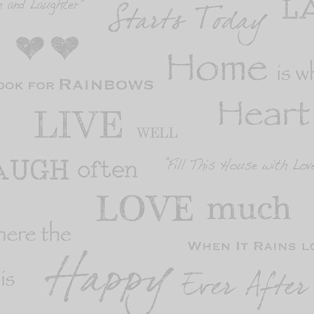 Soft Quotes I Love Wallpaper Shimmer Wall Quotes Wallpaper Soft Grey  Silver