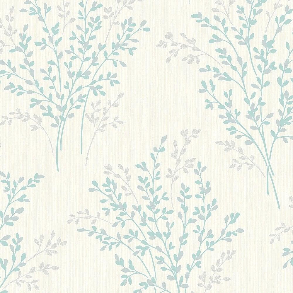 Summer Blossom Textured Glitter Wallpaper Cream Teal Fd40891