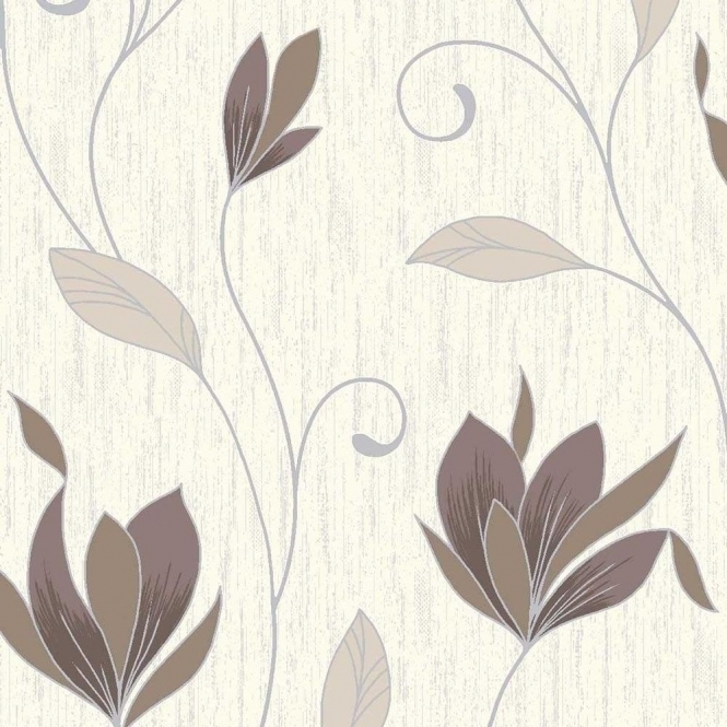 Vymura Synergy Glitter Floral Wallpaper Cream, Brown, Silver (M0780)