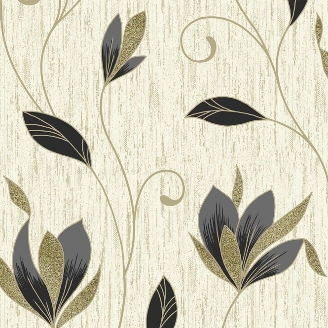 Vymura Synergy Glitter Floral Wallpaper Cream, Gold, Black (M0908)