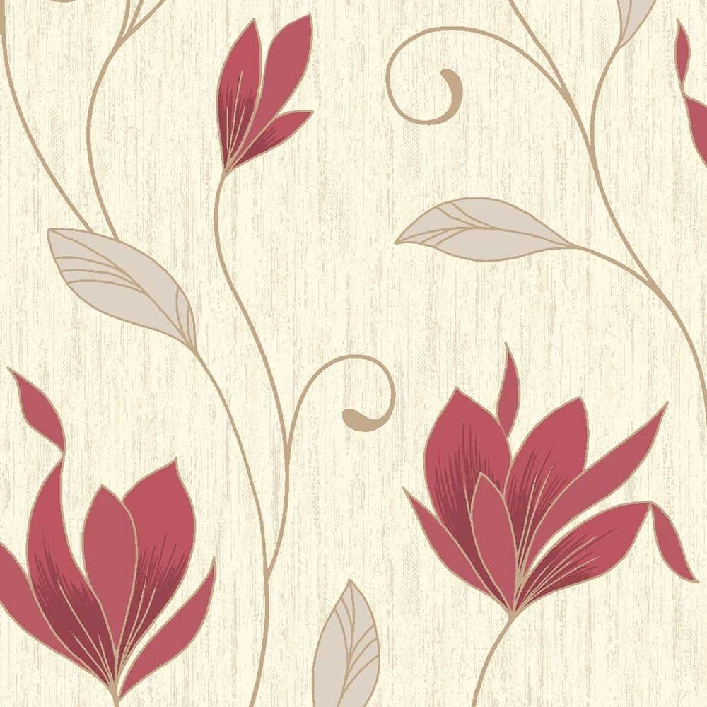 Vymura Synergy Glitter Floral Wallpaper Rich Red Cream Gold