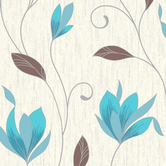 Vymura Synergy Glitter Floral Wallpaper White, Teal, Silver (M0779)