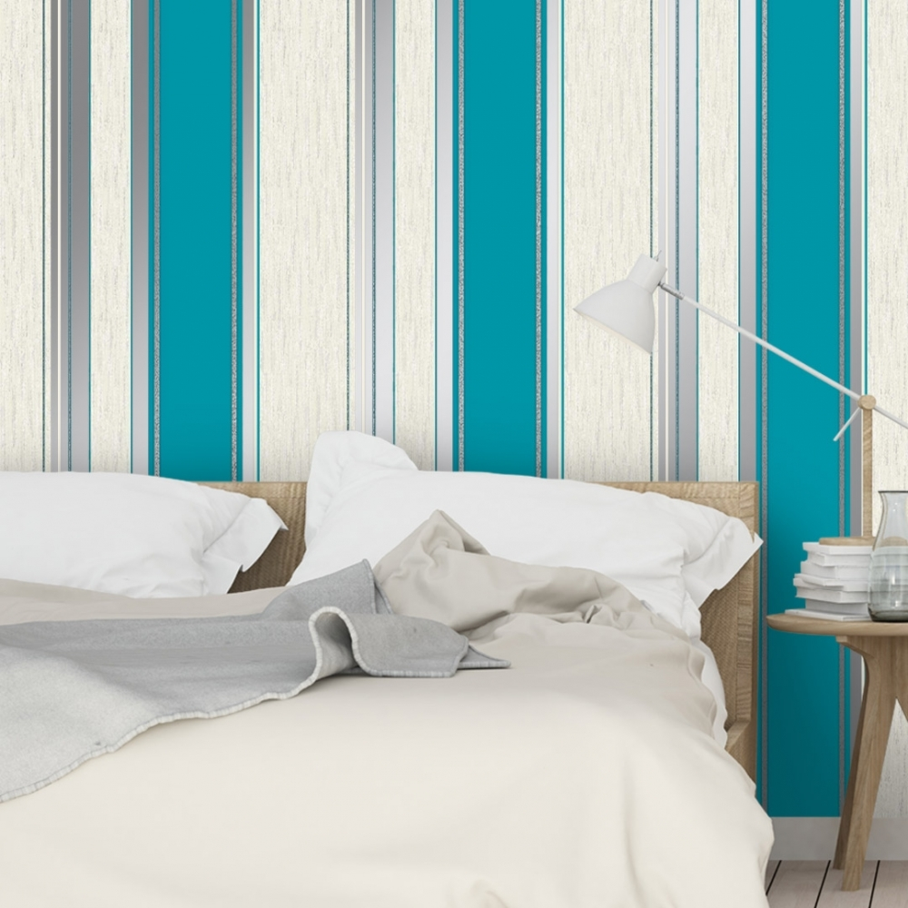 VYMURA M0801 SYNERGY STRIPE GLITTER WALLPAPER TEAL