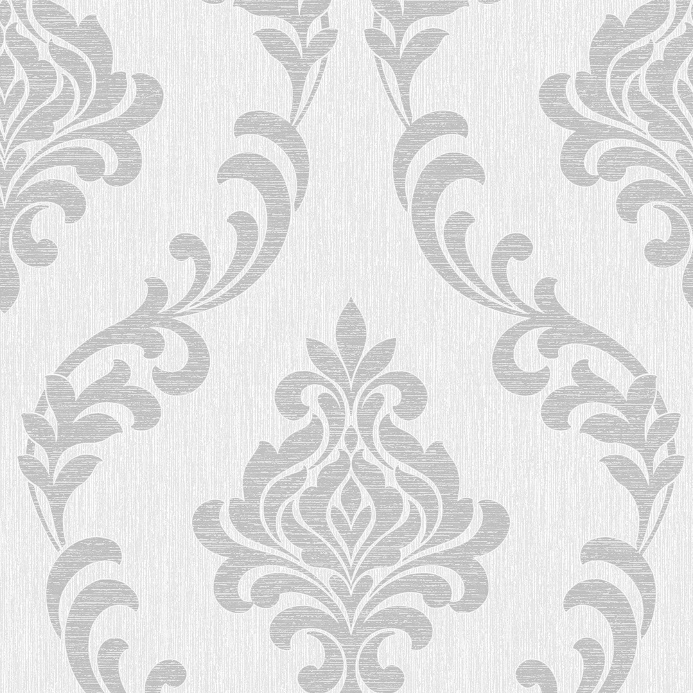 Torino Damask Wallpaper White Silver FD40191