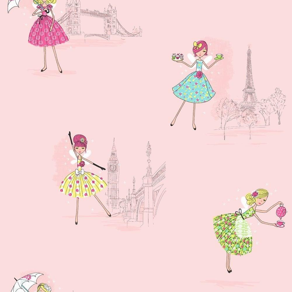 Fine Decor Hoopla Vintage Fairies Hoopla Wallpaper Pink Dl30712