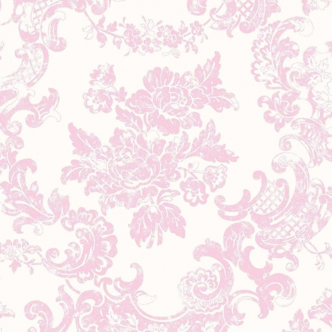 Crown Vintage Lace Wallpaper Marshmallow Pink M0756