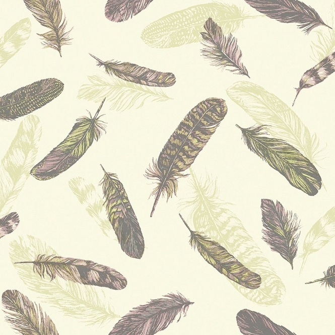 Arthouse Vintage Plume Feather Wallpaper Pink, Green (252802)