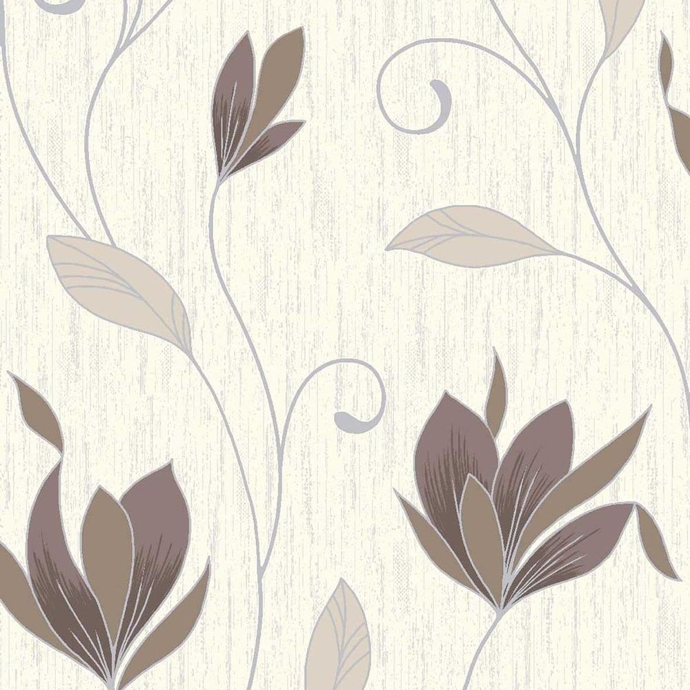 Synergy Glitter Floral Wallpaper Cream Brown Silver M0780