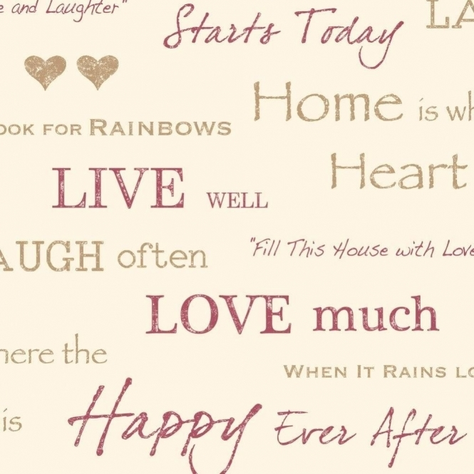 Fine Decor Wall Words Live Love Laugh Wallpaper Red, Gold, Cream (FD40430)
