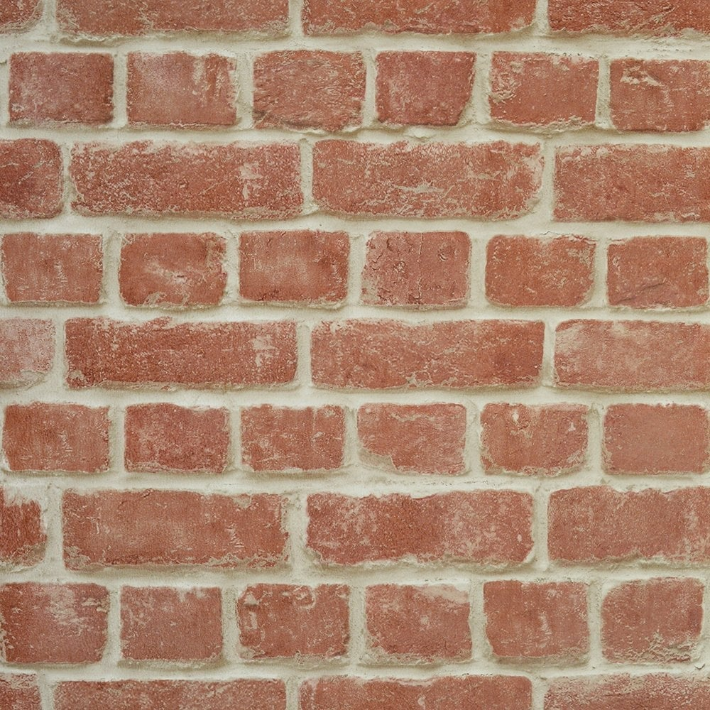 Warehouse Photographic Brick Effect Wallpaper Red ILW261461